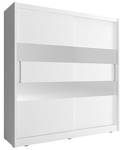 Kleiderschrank mit Spiegel Schrank Gaderobe Schiebtüren Borneo 2 (Weiß, 180 cm)