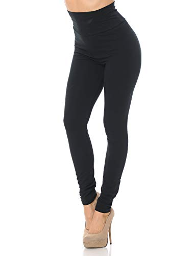 World of Leggings Made in The USA High Waisted Full Length Cotton Leggings Black M