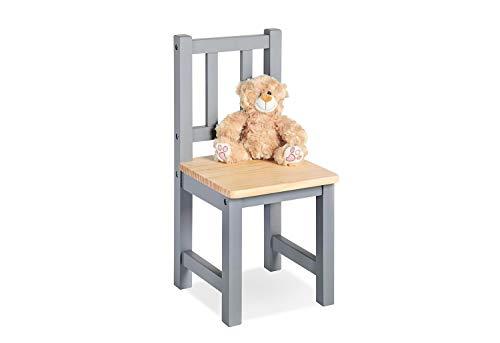 Pinolino Kinderstuhl Fenna, vollmassives Kiefernholz, Sitzhöhe 29 cm, für Kinder von 2 – 7 Jahren, grau und klar lackiert