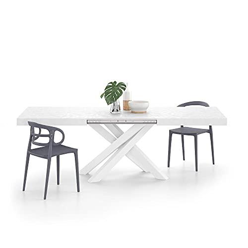 Mobili Fiver, Mesa extensible Emma, cemento blanco con patas cruzadas blancas, ennoblecida/hierro, fabricada en Italia, disponible en varios colores