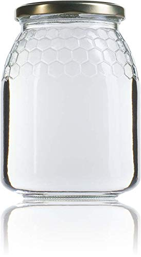Ayuma Tarros de Cristal de Miel 1 Kg para conservas Pack 36 Unidades con Tapa 746 ml
