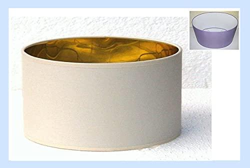 Paolo Rossi paralume coprilampada in tessuto avorio con interno oro - produzione propria - made in Italy (Cilindro ovale, cm 40)