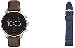 Fossil Mens Gen 4 Q Explorist HR Stainless Steel Touchscreen Watch with Leather Strap, Brown