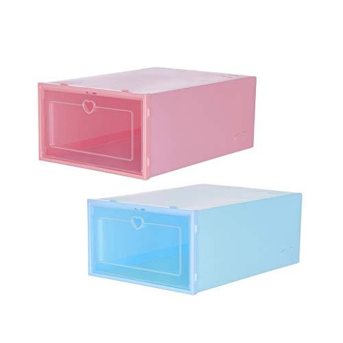 FBGood Kleine Aufbewahrungsbox für Schuhe, transparent, 2 Stück, Aufbewahrungsbox, faltbar, stapelbar, Schuh-Container, Schrankregal, klar, Schuh-Organizer M