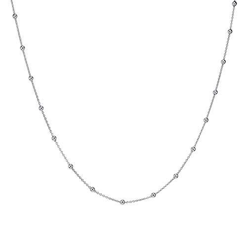 MATERIA Kugel Halskette Damen Silber 925 - Silberkette Kugelkette für Frauen nickelfrei in Etui K103-55 cm