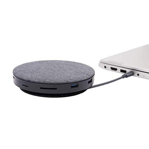 Silver HT - Adaptador Type-C HUB 11 en 1 (Conexiones SD, MicroSD, Audio Jack 3,5mm, USB C, USB 3.0, Ethernet RJ-45, VGA, HDMI 4K) + Cargador QI con Ventilador Compatible con Windows, Mac y Android.