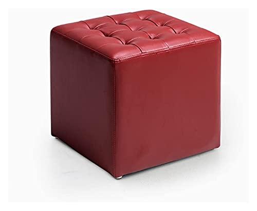 LXESWM Poggiapiedi Sgabello Pouf Sedia in Pelle Piazza Pouf Poggiapiedi Imbottito Sgabello for Il Trucco for Vestibolo (Colore : Red)