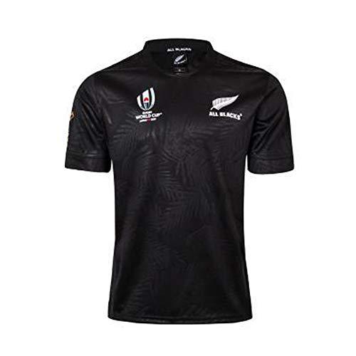 2019 Japan World Cup Rugby Trikots Neuseeland Trikot Fußballtrikot T-Shirts für Männer, Wettkampftraining Herren-Sportler Sweatshirt Unisex Atmungsaktiv, Black-XXL