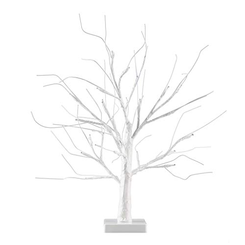 45cm Battery Operated Adjustable Decorative Snow White Blossom Bonsai Style Tree Light - with 24 Warm White LED's XYJGWSTD