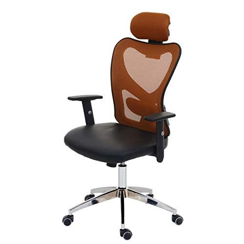 Mendler Profi-Bürostuhl Atlanta, Chefsessel Drehstuhl Schreibtischstuhl, Kunstleder - braun