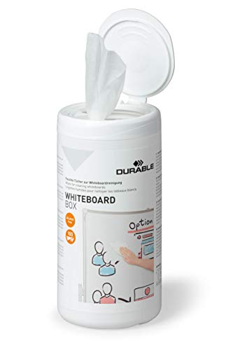 Durable 575902 Pizarra blanca Toallitas limpiadoras limpias, caja dispensadora de 100 piezas, blancas