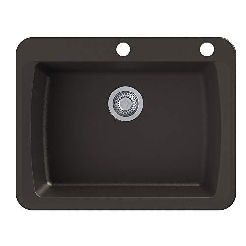 Transolid GTSB2520-12-CE Genova SilQ Granite 2-Hole Dual-mount Single Bowl Kitchen Sink, 25-in L x 20-in W x 8-in H, Espresso