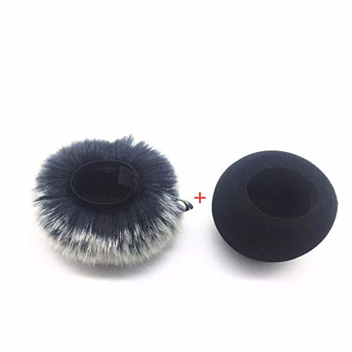 SHOTAY Furry Windscreen Muff Wind Cover Filtro de Espuma Esponja Micrófono Cubierta a Prueba de Viento para Zoom H1 Handy Recorder Mic Blanco y Negro Cabello Corto + Cubierta Protectora