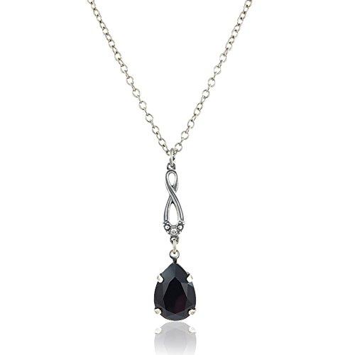 nobel-schmuck Jugendstil Kette mit Kristalle von Swarovski® Schwarz Silber