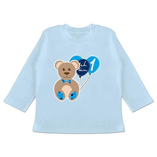 Geburtstag Baby - Ich Bin 1 Junge Bär Luftballons Erster - 12/18 Monate - Babyblau - 1 Geburtstag Shirt Junge - BZ11 - Baby T-Shirt Langarm