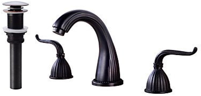 Modernes 3-Loch-Breitstrahlventil mit Messingventil Zwei Griffe Drei Lcher für Bronze poliert, Waschbecken im Waschbecken