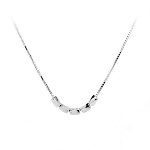 Good dress S925 Sterling Silber Einfache Glück Beanie Halskette Liebe Reis Schlüsselbein Kette Kurze Transit Perlen Anhänger, Tablett, Wie Gezeigt