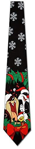WILHJGH Looney Tunes Christmas Wreath Tie Corbata Para Hombre De Vacaciones