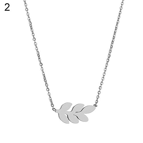 Jewelry Fashion Charming Necklace for Women&Trendy Lady Collarbone Decor Jewelry Elegant Leaf Pendant Hollow Chain Necklace for Her,Colour:Silver (Color : Silver)