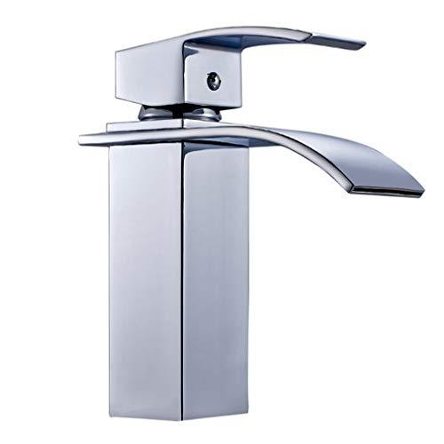Auralum® Elegant Einhebel Mischbatterie Wasserhahn Armatur Waschtischarmatur Wasserfall Einhandmischer für Bad Badezimmer Waschbecken - 9