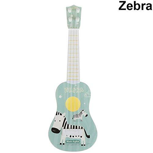 Wivilly 4-Saitige Kindergitarre Kann Simulation Rock Instrumente Cartoon Anfänger Pädagogisches Lernspielzeug Spielen Das Für Kinder Über 3 Jahre Geeignet Ist,Zebra