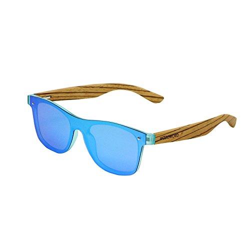 Wood Sunglasses Polarized for Women and Men - Wood Frame Sunglasses Wayfarer with Flat Mirror Lens (Blue)