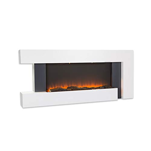 Klarstein Studio Light & Fire 2 Kamin - Elektrokamin, elektrischer Kamin mit Flammeneffekt, E-Kamin, 1000/2000 Watt, Timer-Funktion, Thermostat, MDF-Gehäuse, inkl. Fernbedienung, weiß