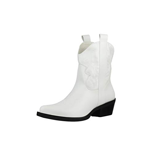 Elara Damen Stiefeletten Cowboy Boots Chunkyrayan BM358 White-38