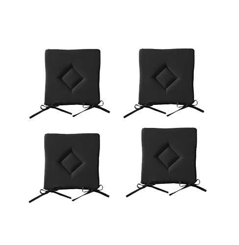 Lot de 4 Galettes de chaise à assise matelassée unie - Noir - 40x40x3.5cm – Today