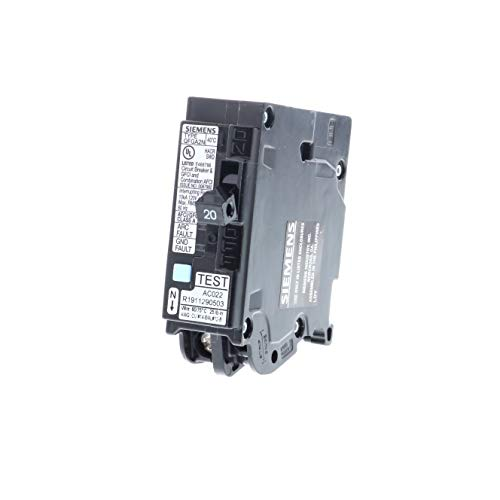 Siemens Q120DFN 20 Amp 1-Pole Dual Function (CAFCI/GFCI) Plug-On Neutral Circuit Breaker, Black