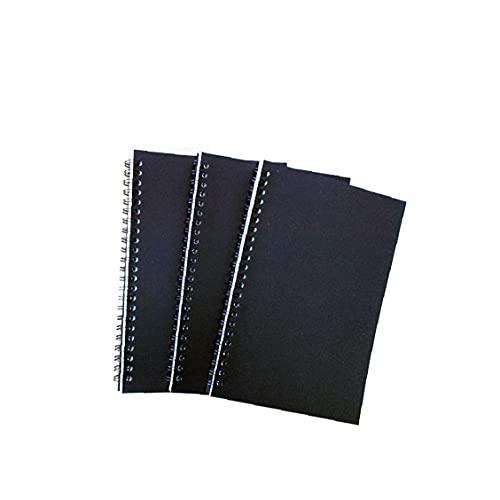 SouiWuzi A5 Blindaje de la Vendimia Espiral Cuaderno de Notas Bloc de Notas Creativo Multi Uso Bobina Libro del Bosquejo Cuaderno en Blanco Negro Sketching 3pcs, para los Estudiantes