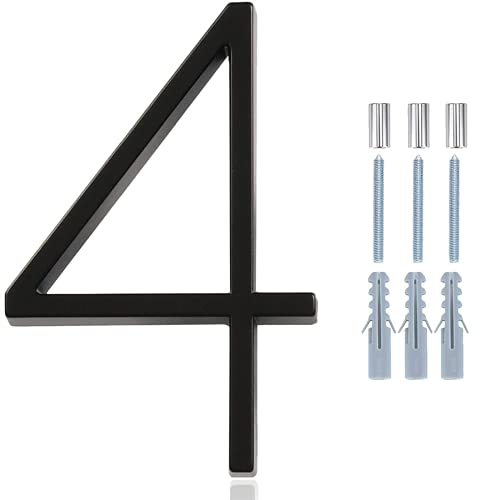 Ajmyonsp 5Inch Floating House Number - Zinc Alloy Black Modern Shadow House Numbers for Outside, Rust Protection Number with Nail Kit and Instructions for House Mailbox Address Numbers (Number 4)