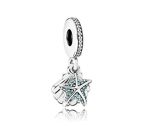 MiniJewelry Sea Shell Starfish Dangle Charm for Pandora Bracelets Tropical Ocean Beach Sterling Silver Charm, Aqua Blue Cubic Zircornia