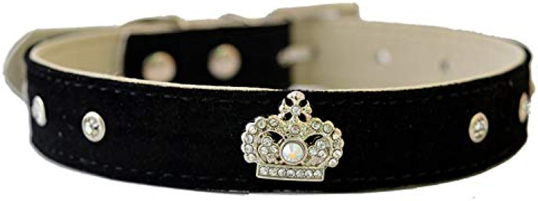 Pet Online Fashion Crown Pet Collar Leather Dog Collar,Black,1.5×2028cm