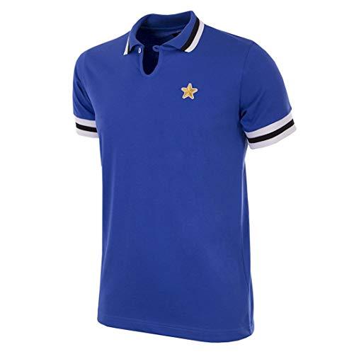 Copa Herren Juventus FC 1976–77 Away Coppa UEFA Retro Fußballtrikot UEFA Retro Fußballkragen T-Shirt L blau