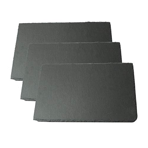 Lonovel Slate Cheese Board Natural Slate Cheese Plates for Kitchen Dining,Parties,Entertaining,8'x12' Slate Placemats Slate Serving Tray for Cake,Fruit,Biscuit,Meat,Charcuterie Slate Boards Set of 3