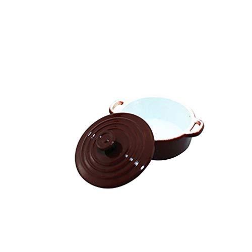 Laputa ypypiaol Moda Miniatura De Color Caramelo Sopa Olla Casa De Muñecas Accesorio Regalo Sartén Juguete Excelente Mano De Obra Juguete Regalos De Cumpleaños marrón