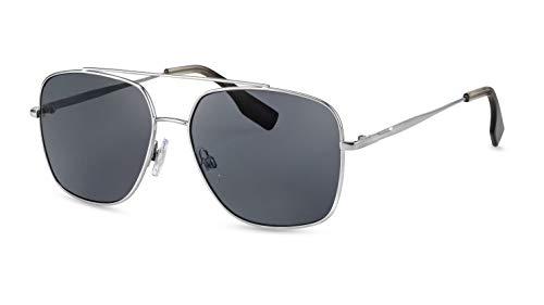 Route 66 Herren Pilotenbrille/Retro Flieger-Sonnenbrille aus Metall mit Doppelsteg/Grau getönt F2502301