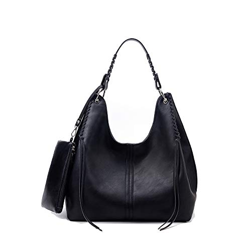 Handbags for Women Large Designer Tote Bag Hobo bag Crossbody Shoulder Bag Top Handle Bucket Purse Soft Faux Leather Set 2pcs Black
