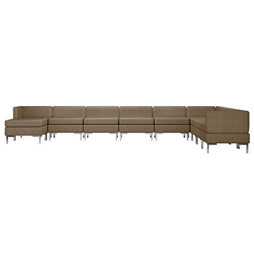 Tidyard Sofás de salón Sofá Cama Modular Juego de sofás 10 Piezas Tela marrón
