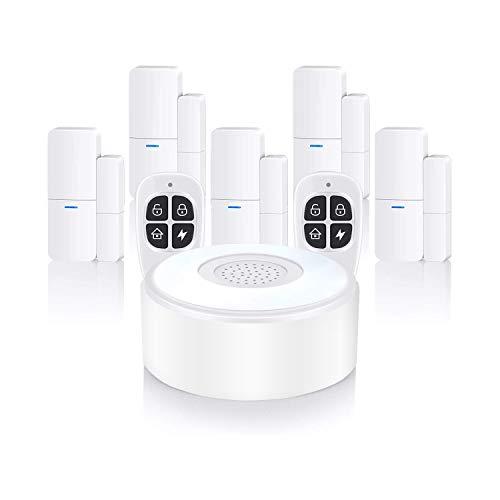 Home Alarm System Wireless, Komplette Alarmanlage mit 1 Sirene, 5 Fenster Tür Sensoren und 2 Fernbedienungen - Fensteralarm Türalarm, App Alarmierung über das Mobilfunknetz (1B-5CS2KF)