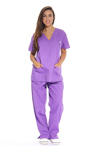 Just Love Women s Scrub Sets Six Pocket Medical Scrubs (V-Neck With Cargo Pant), Purple, X-Small