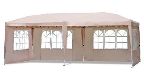 Sekey 3 x 6m Faltpavillon Wasserdicht Gartenpavillon, Partyzelt mit Seitenteilen für Party,Festival,Hochzeit,Taupe