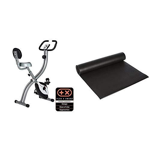 Ultrasport Trainer da Casa F-Bike 200B, Bici da Fitness con Sensori delle Pulsazioni & Tappetino fitness multifunzione, tappetino per attrezzi fitness, utilizzabile come tappetino protettivo