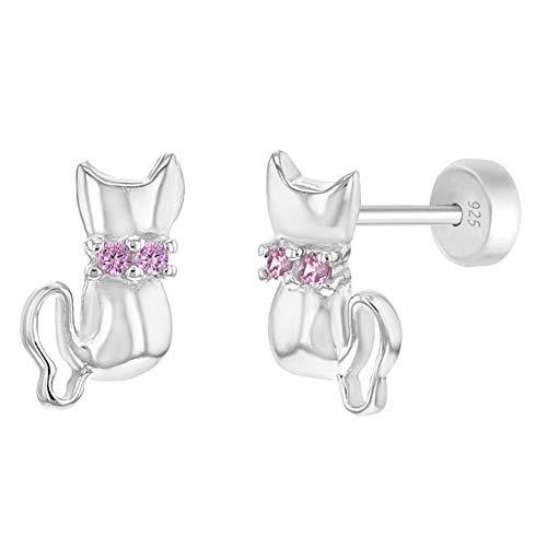 In Season Jewelry Boucles Boucles D'Oreilles En Argent 925/1000 Rose En Zircone Cubique Pour Chaton