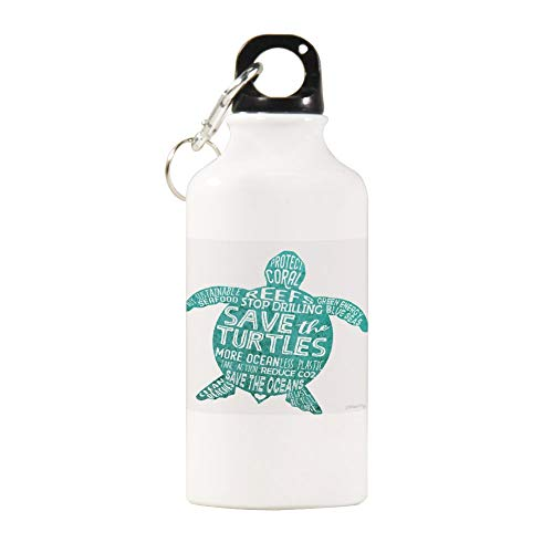 VINMEA Funny Stainless Steel Sports Water Bottle Save The Turtles - Silhouette Words Insulated Sports Water Bottle with Carabiner Clip, 14 Oz, White