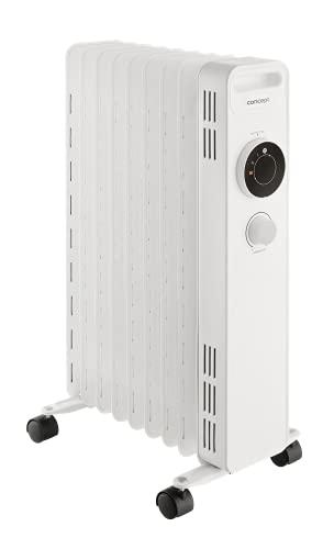 CONCEPT Hausgeräte RO3309 Radiador de aceite, 3 niveles de calor, 9 aletas, protección contra sobrecalentamiento, protección contra heladas, 2000 W, color blanco