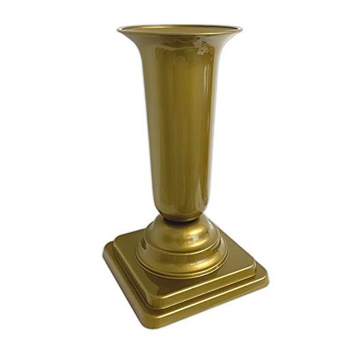 HAC24 Grabvase Gold Grabschmuck Kunststoff Friedhofsvase mit Sockel Friedhof Blumenvase Grabdekoration Grab Vase Grabsteckvase