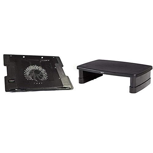 Tacens Anima ANBC2 - Base de refrigeración para portátil (Ventilador 14 cm, 17 Pulgadas, ultrasilencioso, 5 Posiciones) Color Negro & Amazon Basics - Soporte Ajustable para Monitor