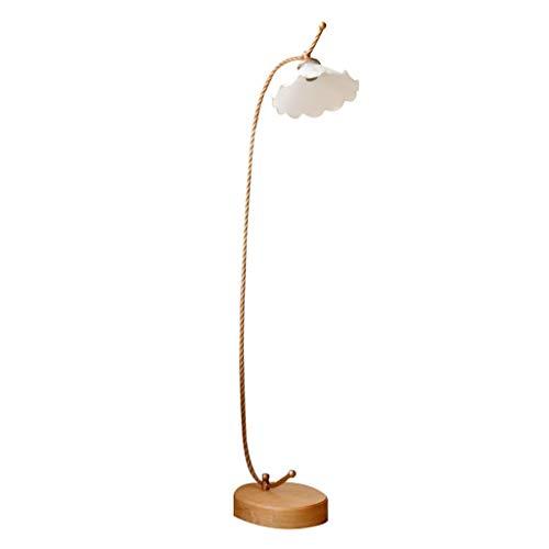 YANYAN lámpara de pie Suelo de la lámpara LED nórdica de Madera sólida Permanente luz de la decoración del Piso Luz Pétalo Pantalla de Cristal de la lámpara de pie for el Dormitorio Salon (Color : A)